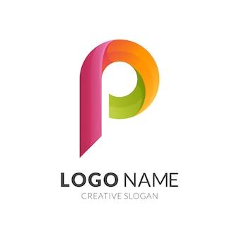 Буква p логотип концепцию, современный 3d логотип