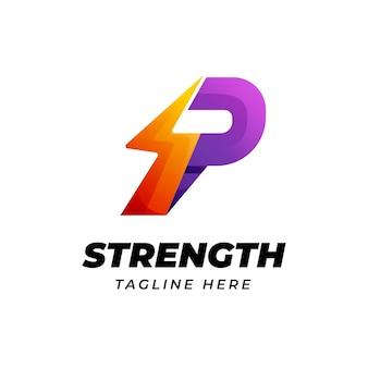벼락 에너지 모양의 문자 p 로고 디자인