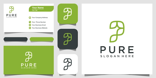 Letter p logo forms a leaf with green color logo design inspiration. and business card