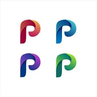 Letter p logo illustration gradient colorful