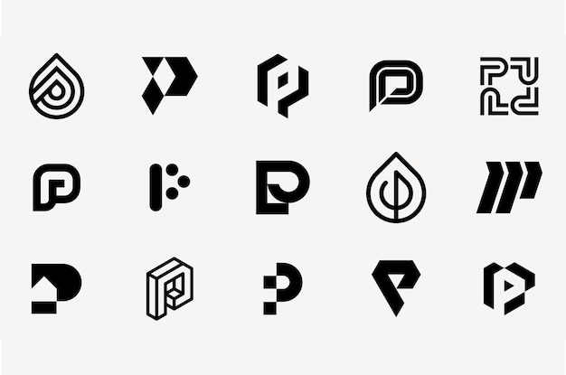 Letter p logo set template collection