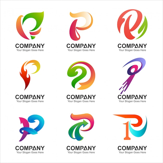Letter p logo set