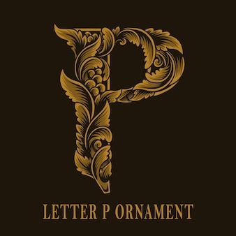 Letter p logo vintage ornament style