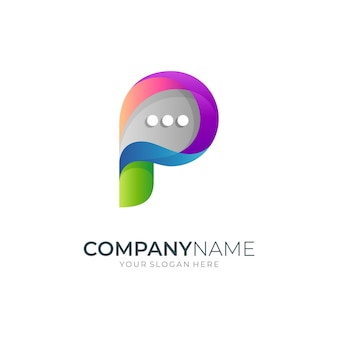 Letter p logo with bubble chat