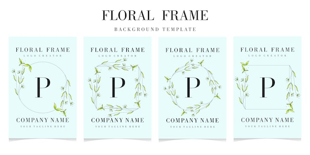 Letter p logo with floral frame background template