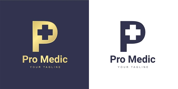 Letter p logo with a minimalist  medic  and  healthy  concept