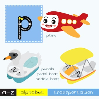 Letter p lowercase tracing transportations vocabulary