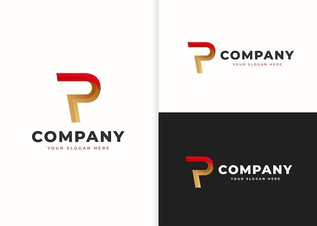 文字p高級ロゴデザインテンプレート。ベクトルイラスト