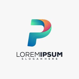 Буква p современный дизайн логотипа