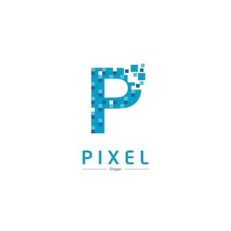 ピクセル記号の文字pテクノロジーロゴ