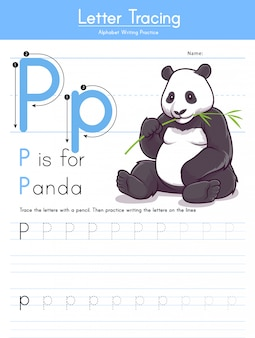 Letter p tracing animal alphabet p for panda