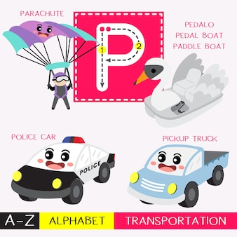 Letter p uppercase tracing transportations vocabulary