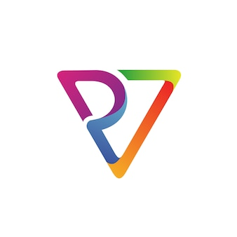Letter p and v logo vector
