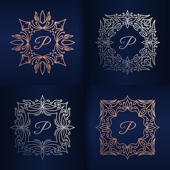 Letter p with floral frame logo template