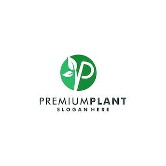 Letter p with leaf logo design vector illustration