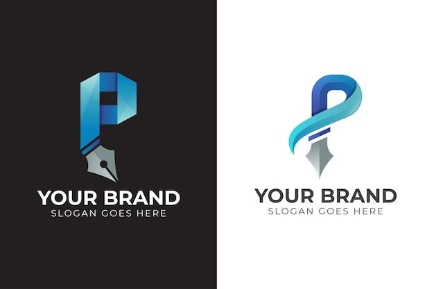 Letter p with pen ink concept logo design
