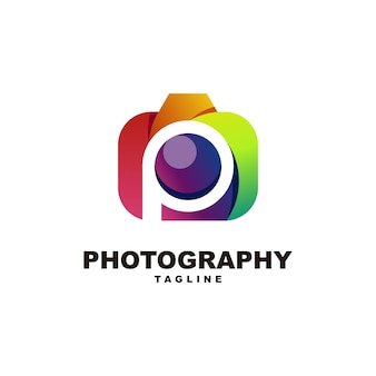 Letter p with photography logo premium