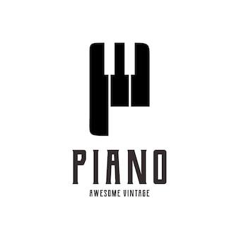 Letter p with piano logo silhouette vintage retro