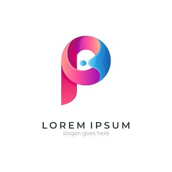 Буква p с концепцией логотипа волны