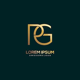 Letter pg logo luxury gold color illustration