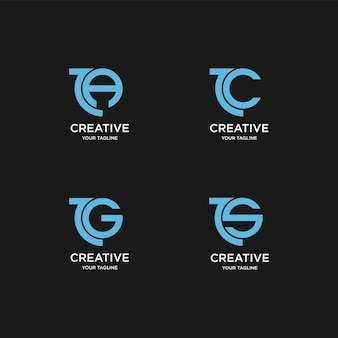 Letter premium  logo with round logo template