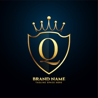 Letter q crown tiara logo golden