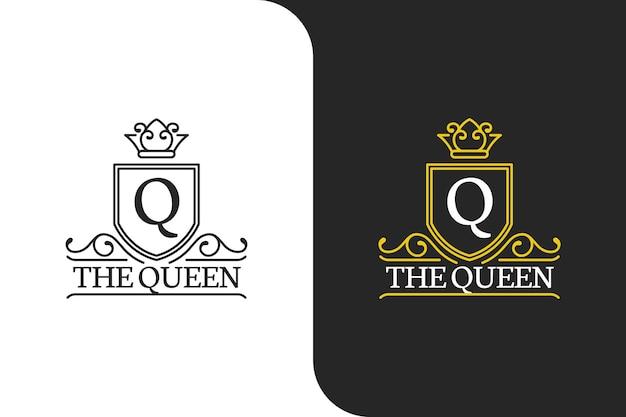 レターqキングダムクイーンエレガントゴールドロゴ