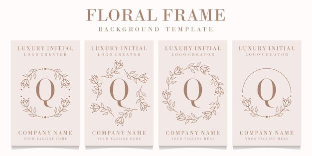 Буква q дизайн логотипа с цветочным шаблоном кадра