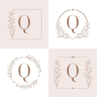 Letter q logo with floral frame background template