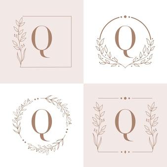 花のフレームの背景テンプレートと文字qロゴ