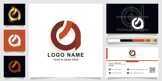 Letter a or q monogram logo template with business card design