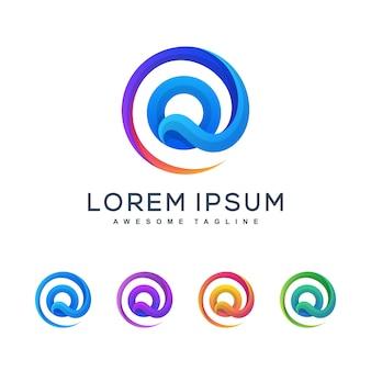 Letter q multicolored logo template