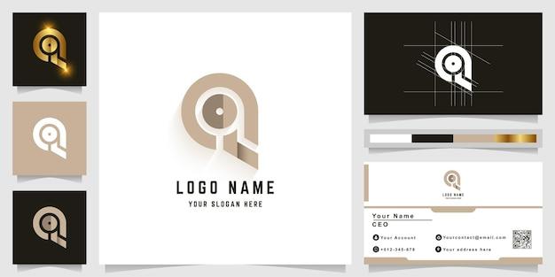 名刺デザインの文字qまたはqoモノグラムロゴ
