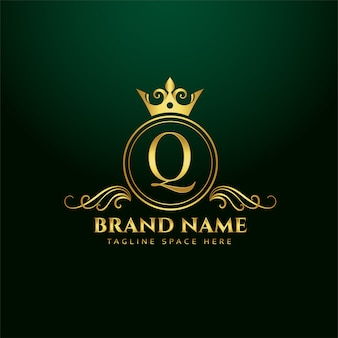 Letter q ornamental logo concept with golden crown