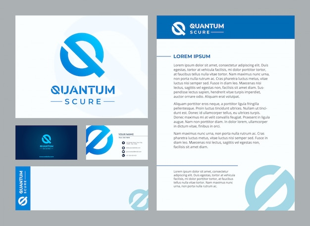 Letter q quantum stationary template