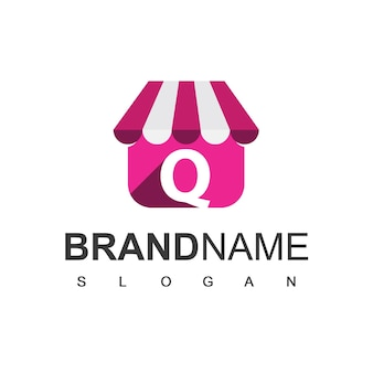 手紙qストアのロゴデザインテンプレート、オンラインショップのシンボル。