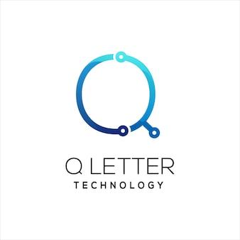 文字qテクノロジーロゴカラフルなグラデーション抽象