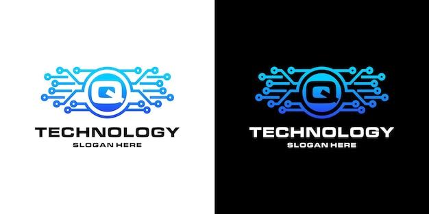 レターqテクノロジーnftロゴデザイン