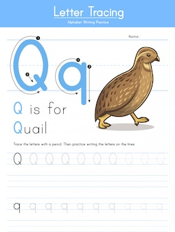 Letter q tracing animal alphabet q for quail