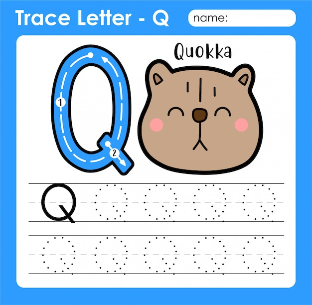 Letter q 대문자-quokka가 포함 된 알파벳 문자 추적 워크 시트