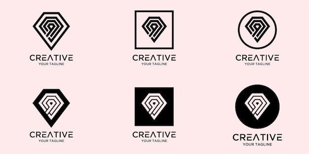 抽象的なダイヤモンドのロゴのテンプレートと文字q
