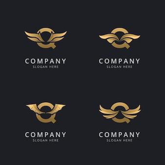 Буква q с роскошным абстрактным шаблоном логотипа крыла