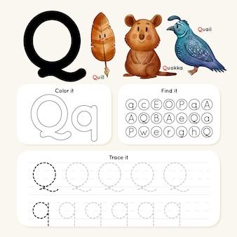 Foglio di lavoro lettera q con penna e animali