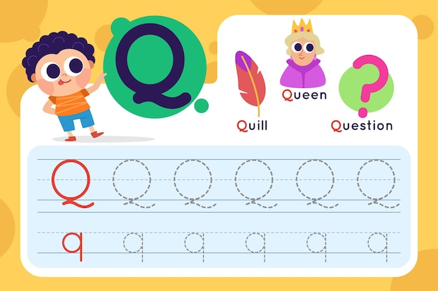 Letter q worksheet with quill and queen