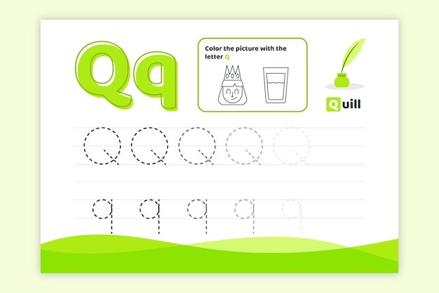 Letter q worksheet with quill