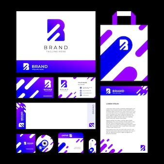Letter r (abstract) logo design template and brand identity for corporate or store with minimal and modern style