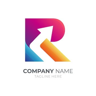 Letter r and arrow business logo template