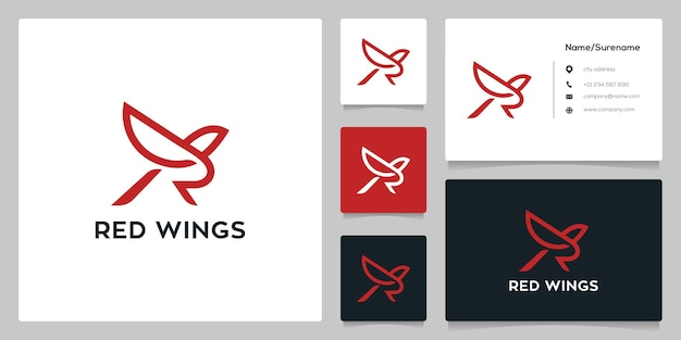 Буква r bird line наброски шаблон дизайна логотипа летающие крылья