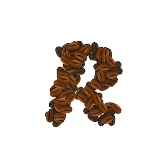 Letter r of coffee grains