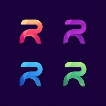 Letter r colorful logo set